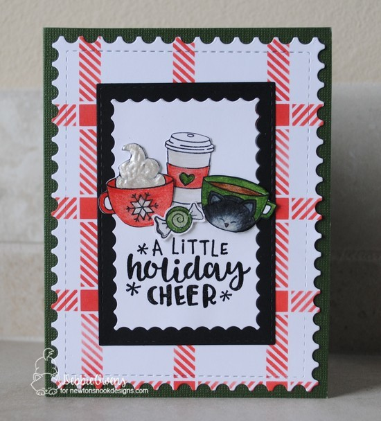 A little holiday cheer by Debbie features Plaid, Framework, Newton Loves Coffee, Cup of Cocoa, Ornamental Wishes, and Newton's Candy Cane by Newton's Nook Designs; #newtonsnook