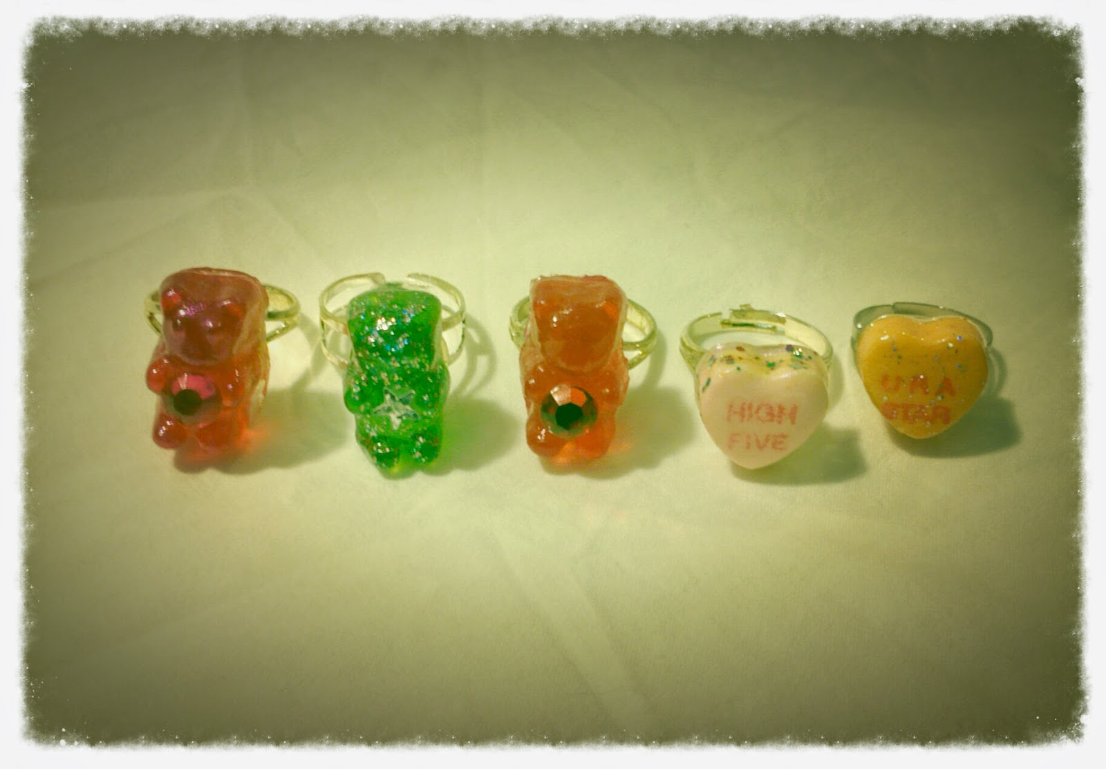 Gummy bear and candy heart rings