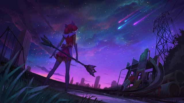 Lux mira al cielo y cuatro estrellas fugaces de distinto color se preparan para llegar a la tierra.