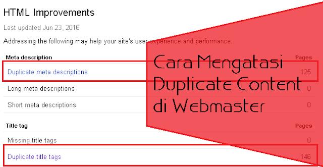 Cara Mengatasi Duplicate Content di Webmaster