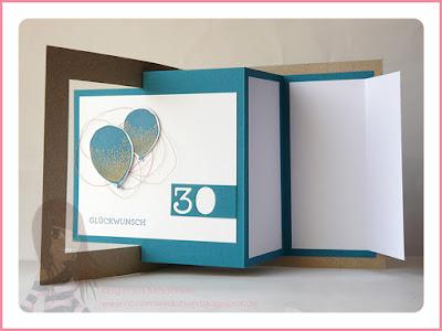 Stampin' Up! rosa Mädchen Kulmbach: Geburtstagskarte mit Falttechnik, Partyballons und Eins für alles