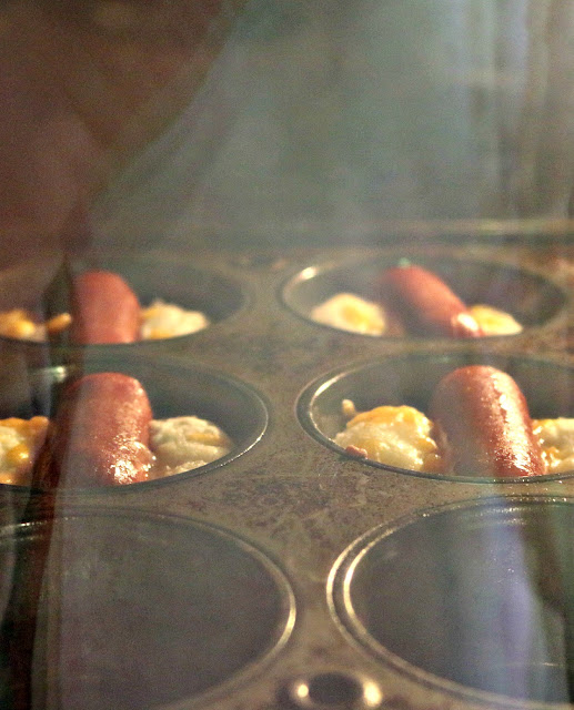 Cheesy Hot Dog Muffins in Oven