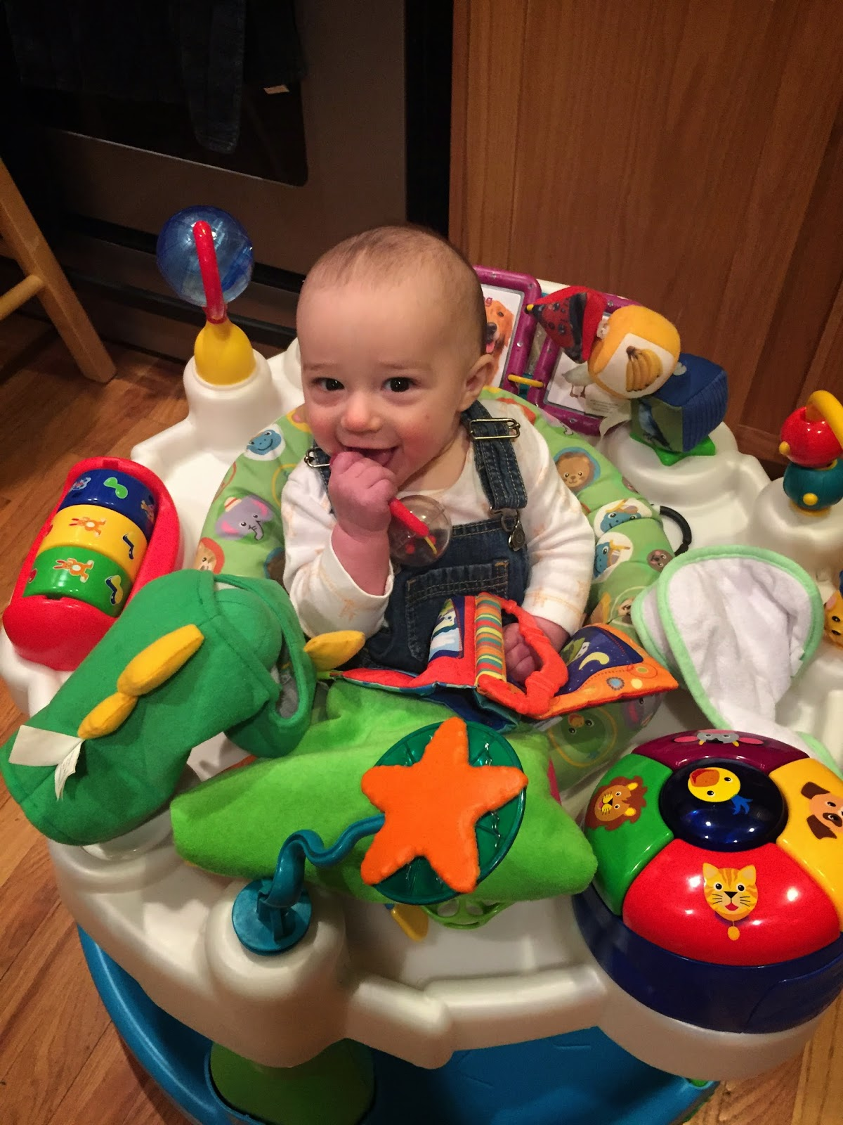 Baby in exersaucer