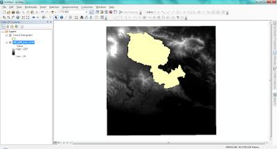 Layer Digital Elevation Model dan Layer Region Ciamis