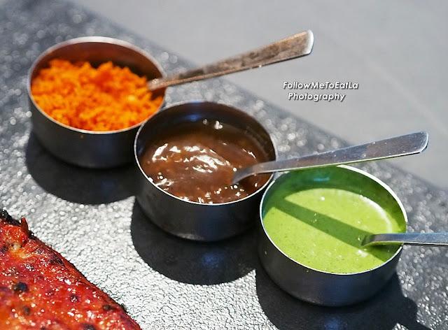 Pol Sambal, Tamarind BBQ sauce, & Mint Chutney