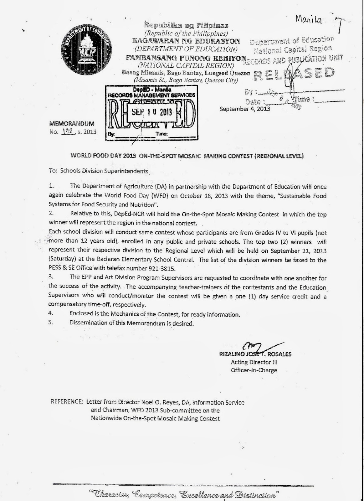 Department of Education Manila: Division Memorandum No