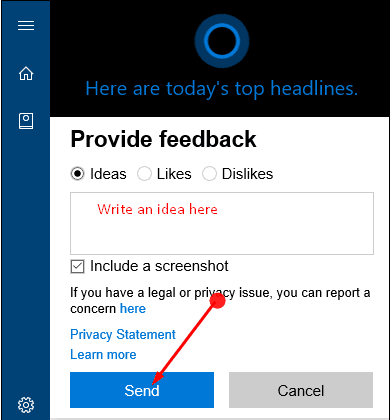 Ways to Give Ideas to Microsoft For Cortana in Windows 10