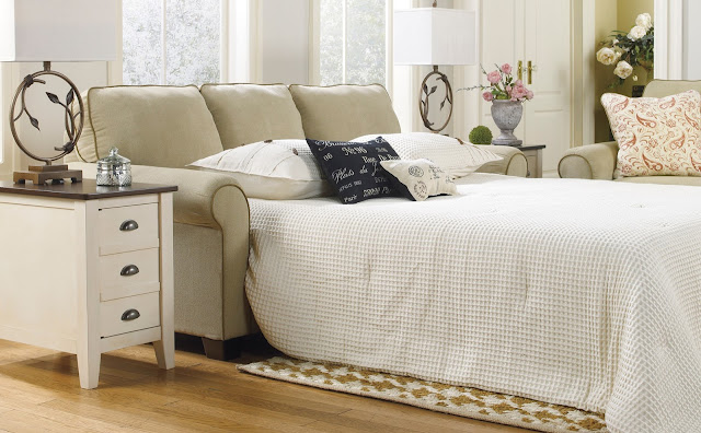elegant white queen size sleeper sofa for interior design completed with tiny white side table with drawers