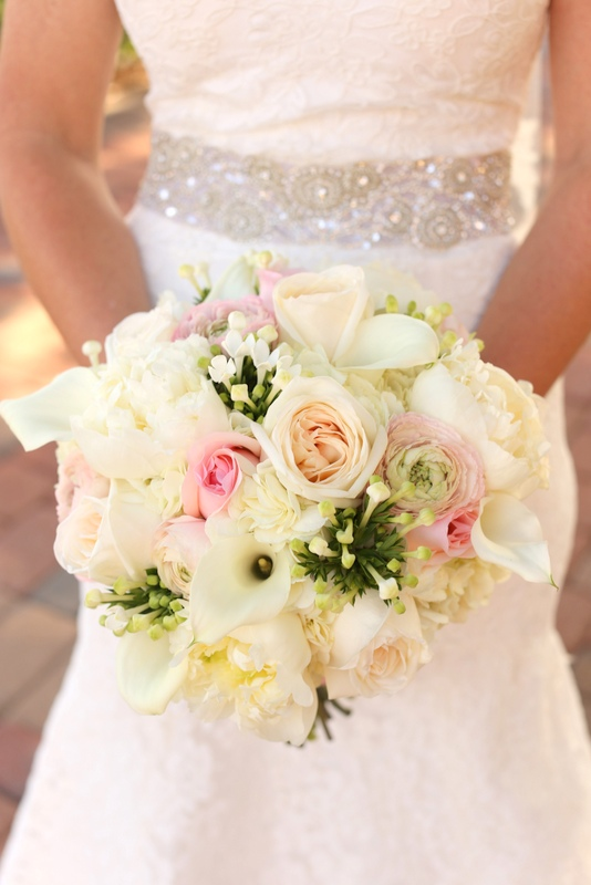 Bridal Bouquet White Hydrangeas Peonies Bouvardia Mini Calla Lilies O Hara Garden Roses Light Pink Ranunculus And