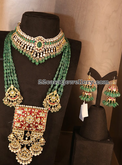 Emerald Beads Long Set with Kundan Pendant