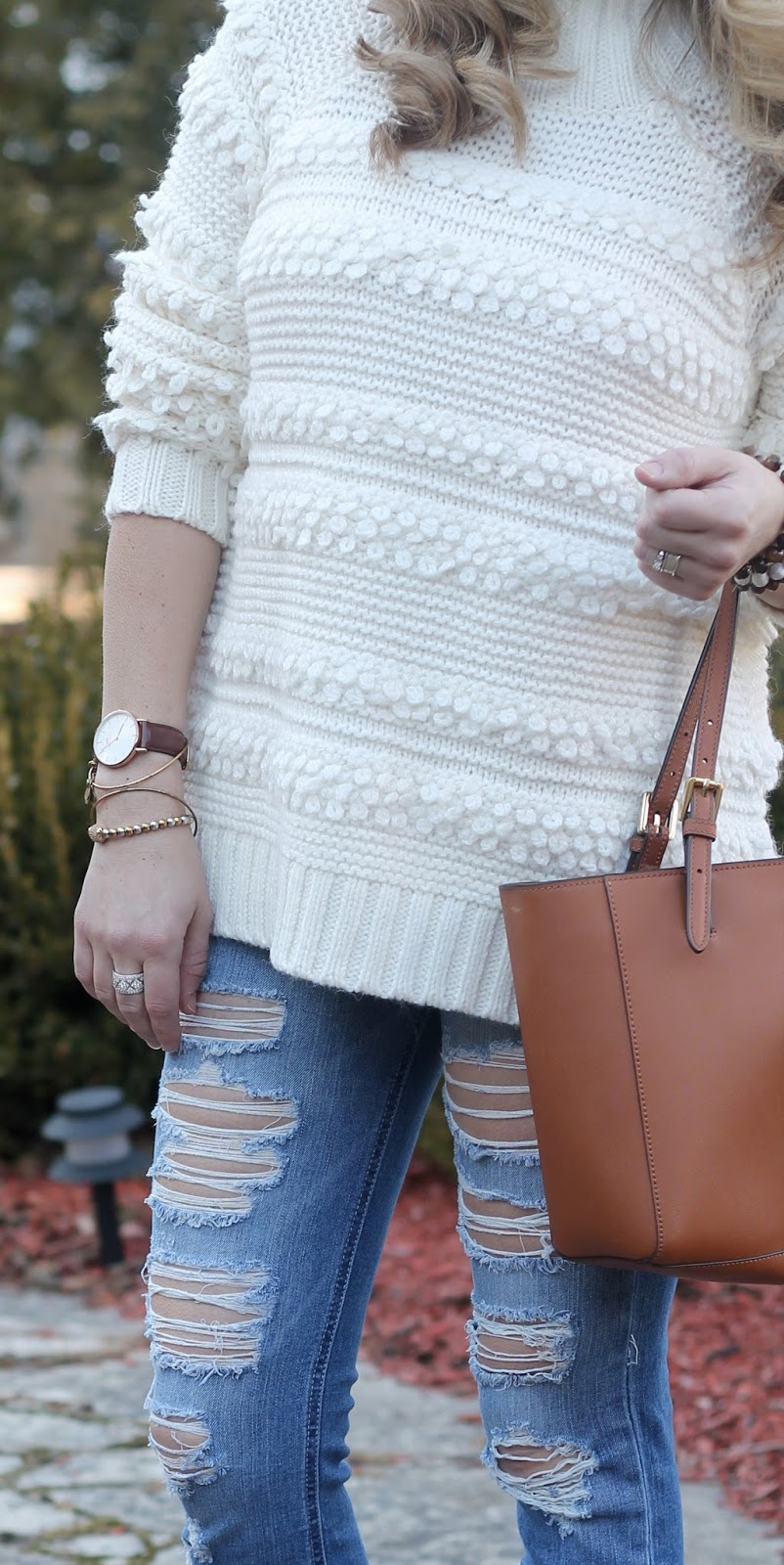 cozy white turtleneck sweater, distressed jeans, cognac loafers, tory burch tote, 4eursole loafers