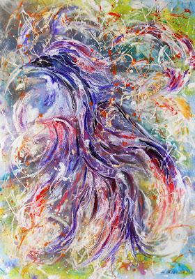 Абстрактная картина Птица счастья акрилом http://artnataly.ru