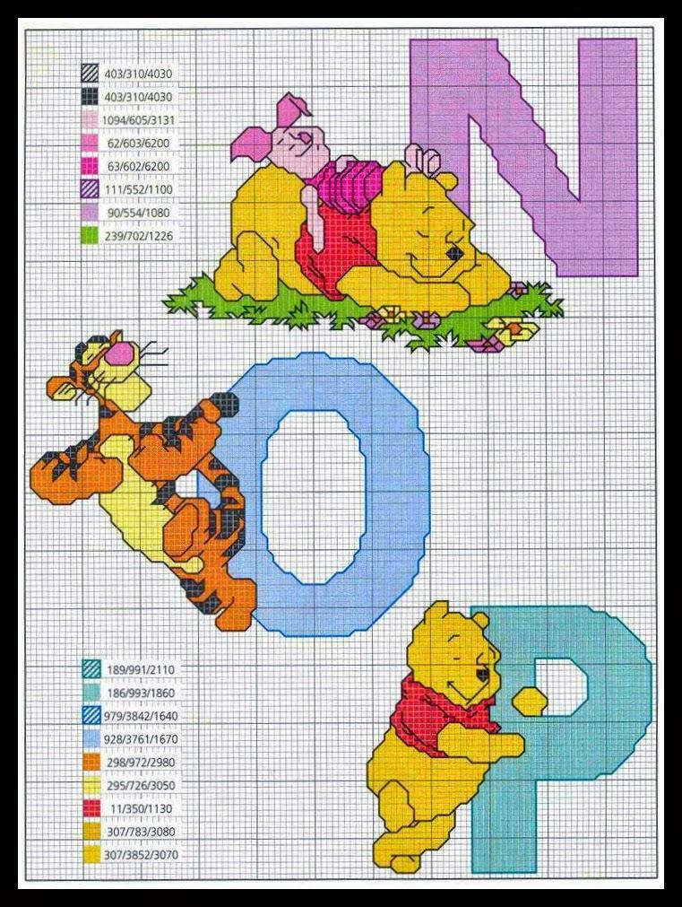 Graficos punto de cruz gratis inicial infantil y nombres 7 for Punto croce disney winnie the pooh