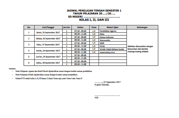 Contoh Jadwal UTS Kurikulum 2013 untuk SD/MI