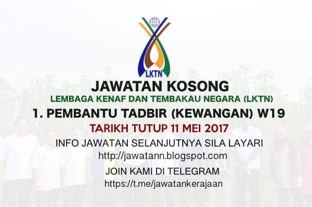 Jawatan Kosong Lembaga Kenaf dan Tembakau Negara (LKTN) 11 Mei 2017