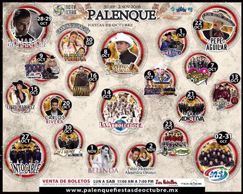cartelera palenque fiestas de octubre 2016