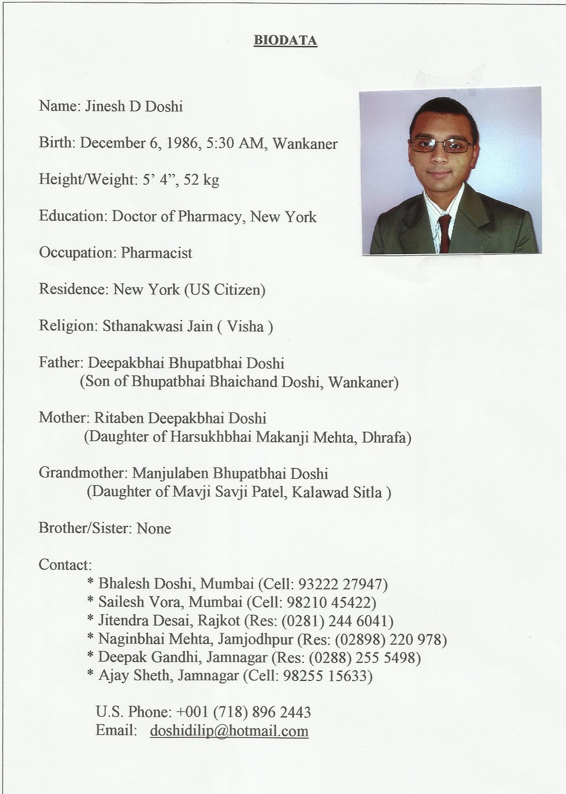 sample of biodata