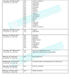 CBSC 10th Public Exam Time Table