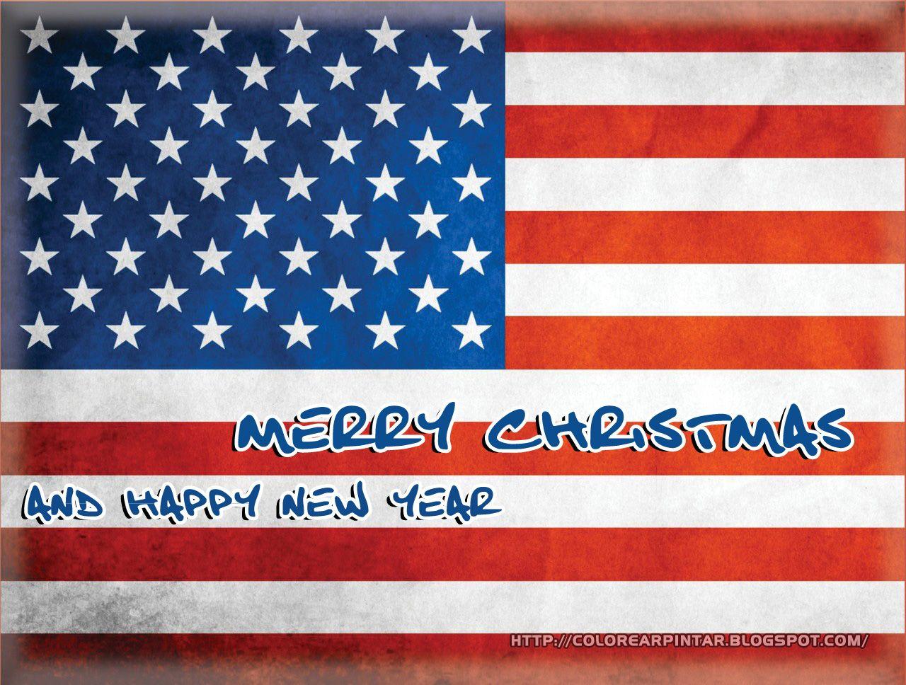 Colorear Pintar Bandera De Estados Unidos Con Merry Christmas