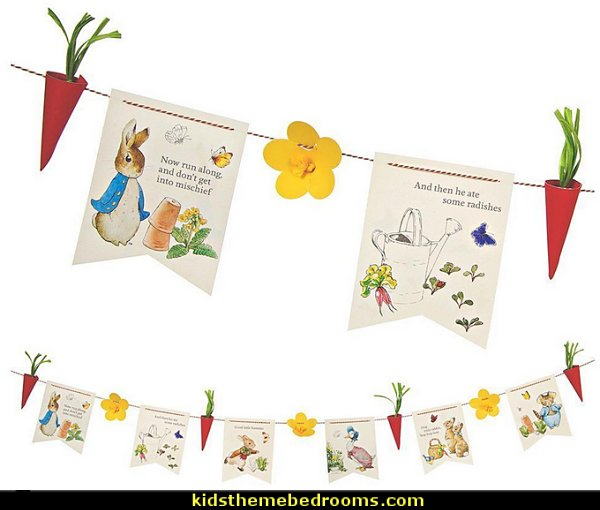 Peter Rabbit Party Garland  Peter Rabbit party supplies - Peter Rabbit Party Ideas - Peter Rabbit Party Theme  decorations - Peter Rabbit birthday party decorations - Peter Rabbit spring garden party decorating - garden party - Carrots Chocolate Candy molds  -  Carrot cake cookie molds - flower decorations - bunny party sweets - bunny party supplies