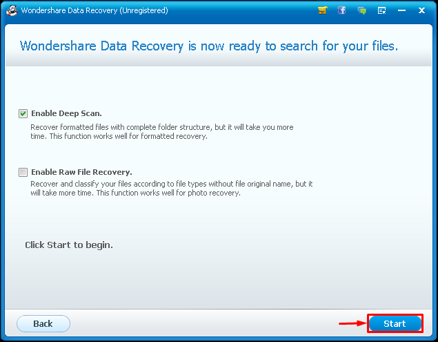 Wondershare Data Recovery scan