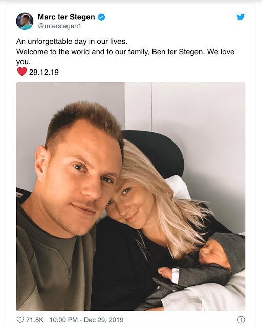 """er Stegen: """"Chào mừng đến với thế giới và gia đình của chúng ta, Ben ter Stegen. Cha mẹ yêu con."""""""