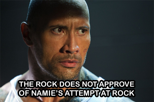 The rock does not approve of Namie's attempt at rock | Random J Pop