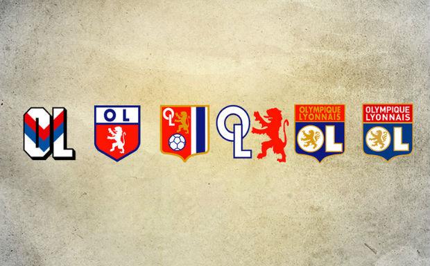 Le logo de l'Olympique Lyonnais durant l'histoire du club