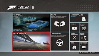 Forza 5: Create Online Matches, Menu