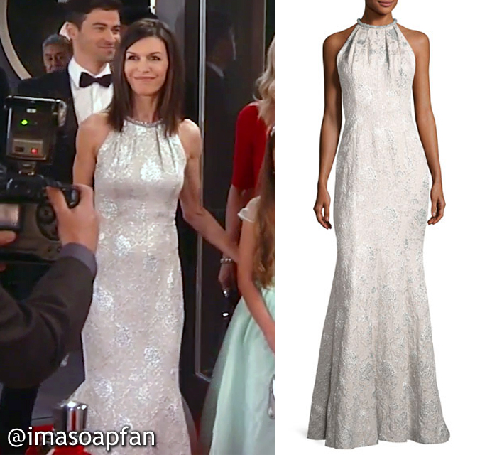 Anna Devane, Finola Hughes, Silver Brocade Gown, Carmen Marc Valvo, Nurses Ball, GH, General Hospital, Season 55, Episode 05/23/17