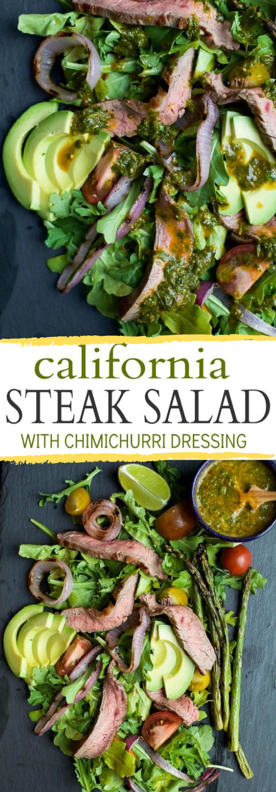 California Steak Salad with Chimichurri Dressing #steak #vegan