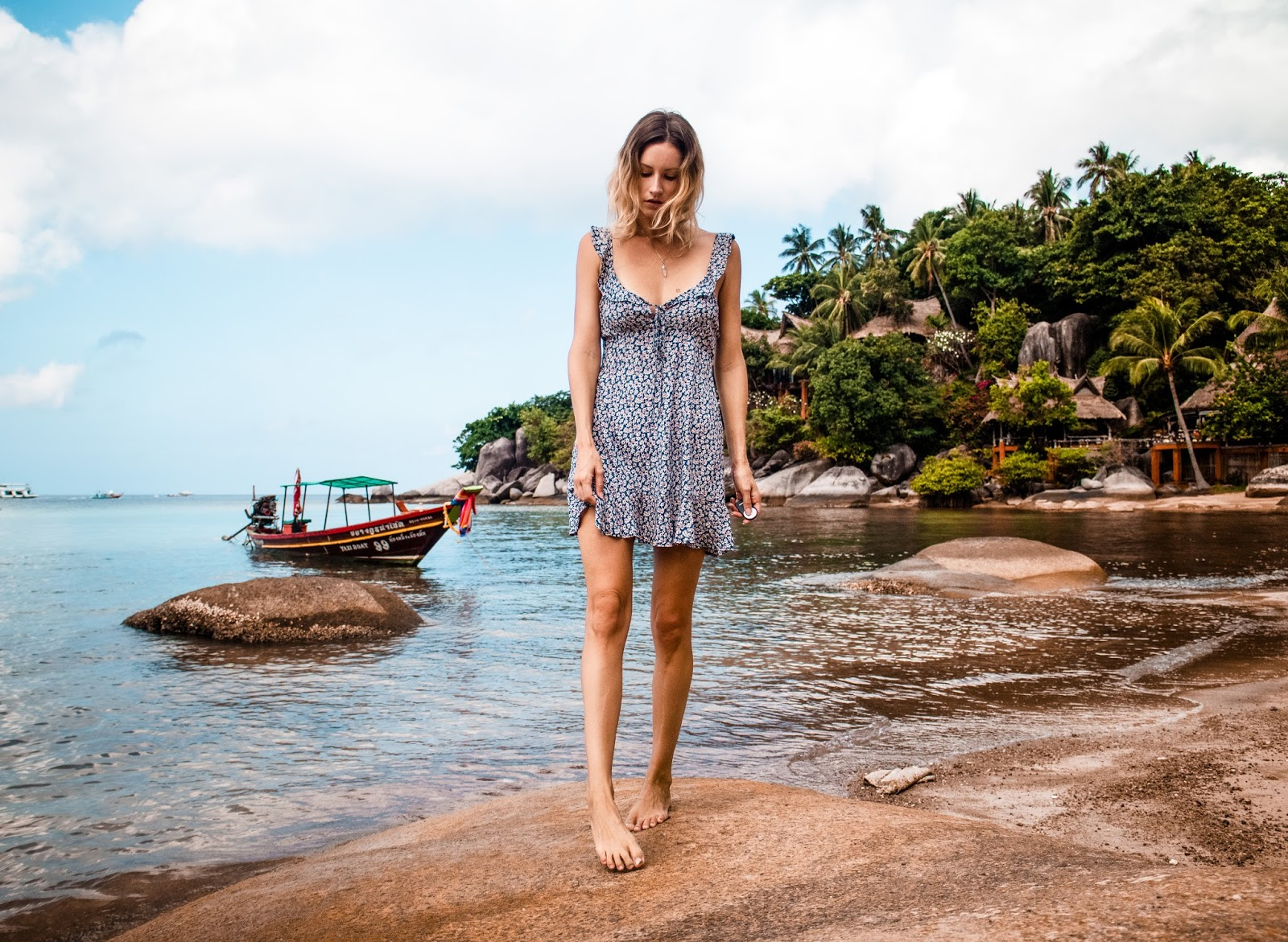 fashion and travel blogger, Alison Hutchinson, is wearing an Auguste dress in Koh Tao
