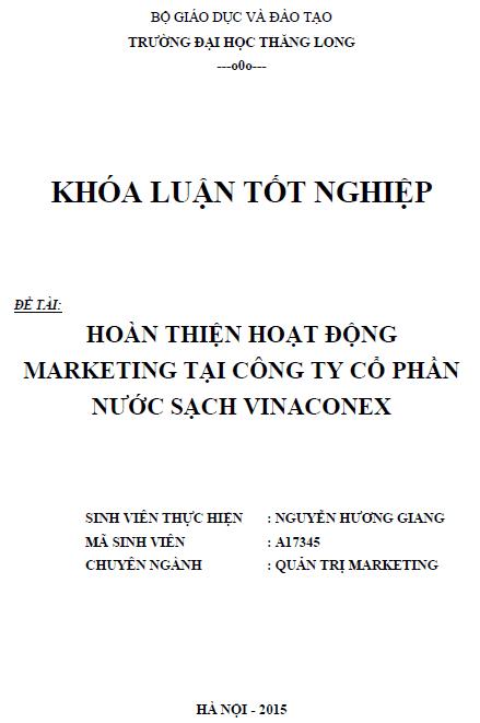 Hoàn thiện hoạt động marketing tại Công ty Cổ phần nước sạch Vinaconex