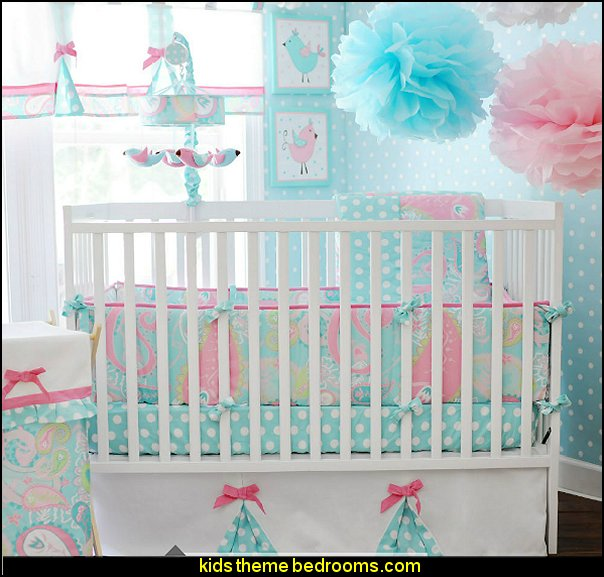My Baby Sam Pixie Aqua Bedding  birdcage bedroom ideas - decorating with birdcages - bird cage theme bedroom decorating ideas - bird themed bedroom design ideas - bird theme decor - bird theme bedding - bird bedroom decor