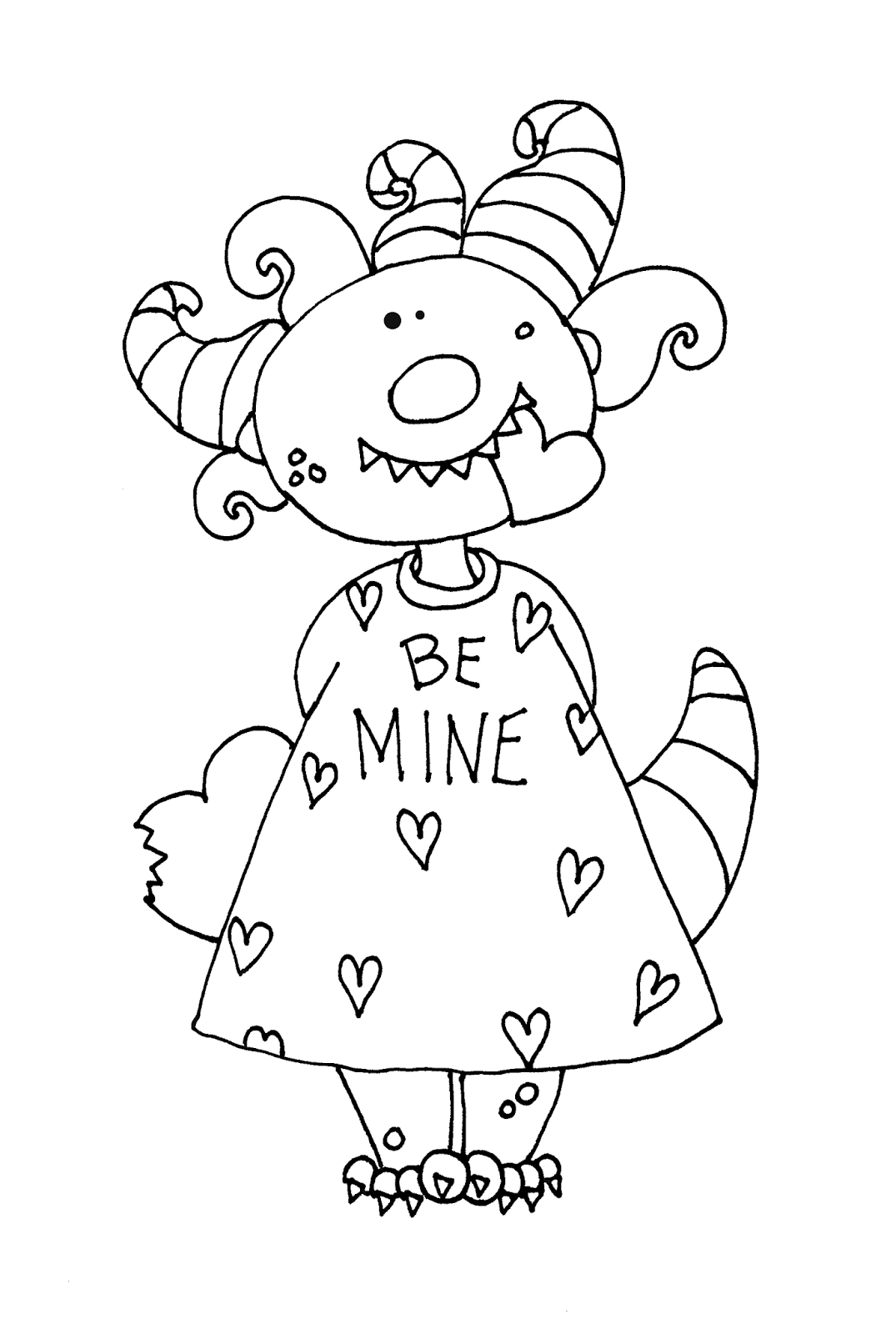 Free Dearie Dolls Digi Stamps Girlie Valentine Monster