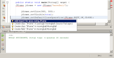 import the JFrame by clicking the Add import for javax.swing.JFrame