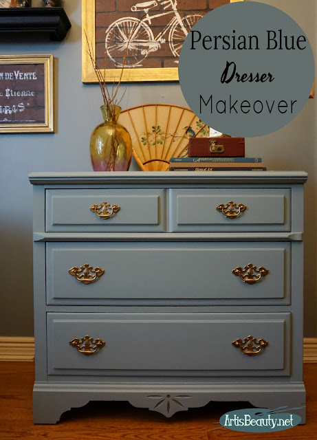 persian blue painted dresser makeover using general finishes milk paint regency style boho chic before and after diy eclectic style