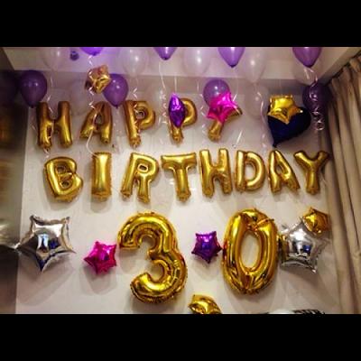 Kombinasi Balon Foil Huruf & Balon Foil Angka Gold