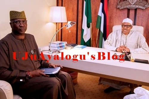 President Buhari Meets His New SGF, Boss Mustapha Inside Aso Rock in Abuja (Photos)