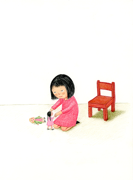 playing with dolls illustration yara dutra