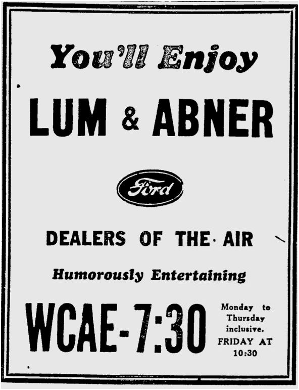 OTR Advertisements: Lum and Abner (Ford)
