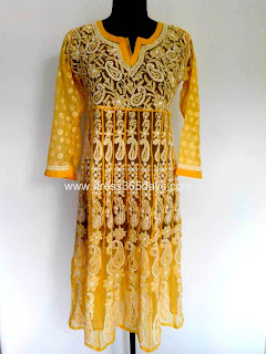 Yellow White Georgette Chikankari Anarkali