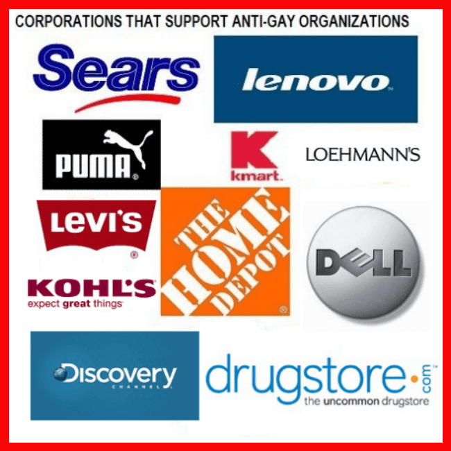 Hall of Shame -Boycott Corporations Supporting Anti-Gay Organizations as of 8/01/11