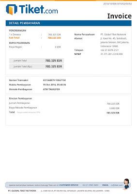 Contoh Invoice dari Tiket.com (Booking Tiket Pesawat)