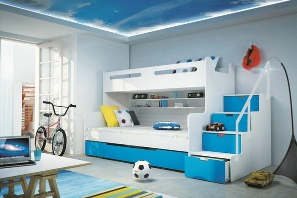 Bunk Bed With Stairs In Blue Color