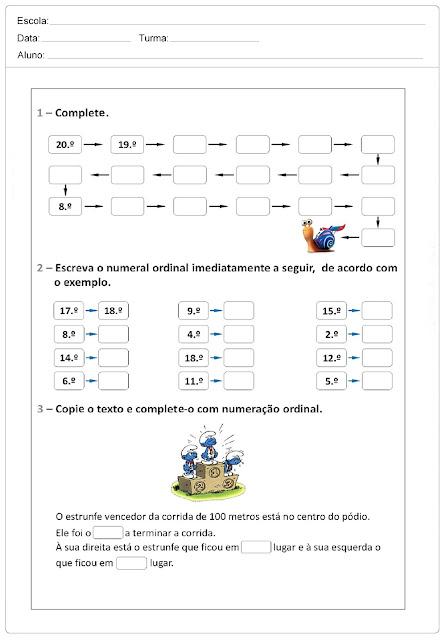 Atividades de Matemática - Problemas com Números Ordinais