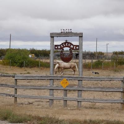Lomond, Alberta, farm, sign