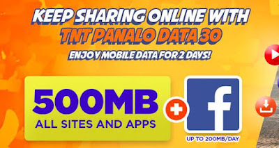 TNT PDATA30 Promo : Panalo Data 30 Pesos 900MB Mobile Data for 2 Days, Internet + Facebook