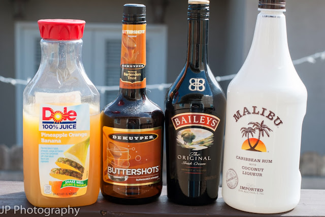 Lifesaver, Baileys, Irish cream liqueur, butterscotch schnapps, Malibu rum, coconut rum, pineapple juice