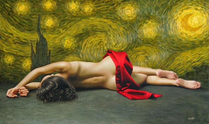A Noite Estrelada - Omar Ortiz | Pintura Sensual Hiper-Realista  - Mexicano
